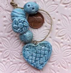 Ceramic Bead Set Pale blue by WinchellClayWorks on Etsy, $10.50