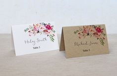 Kraft Place Cards Floral Wedding Place Cards by LoveofCreating