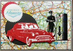 Mindy Cottingham: Tim Holtz Road Trip stamp set & Labels thinlits; SU Circle thinlits; map is upcycled atlas page