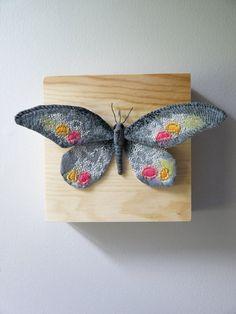 Fabric sculpture -Dark gray butterfly textile art