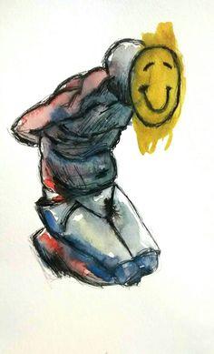 Derek Hess inspiration, watercolor, ink