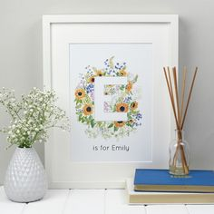personalised floral alphabet wall art - so cute for a nursery, kids room or new baby gift