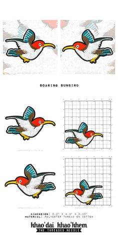 Wonderful Wildlife x Soaring Sunbird - Die Cut Iron On Embroidered Patch by GiftsForYou88 on Etsy