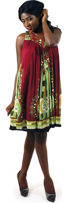 Traditional Short African Dress in Plum #Fashion #Dresses #Sundress