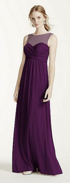 Pretty plum #bridesmaid dress by David's Bridal