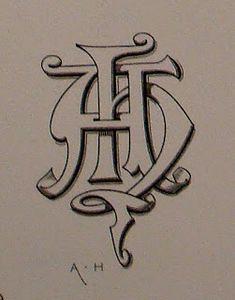 BIBLIOTYPES: MONOGRAMAS - DEMENGEOT Ch. ( I ) Logo Design, Monogram Design, Monogram Fonts, Monogram Letters, Harley Davidson Art, Embroidery Monogram, Illuminated Letters, Typography Letters, Monogram Logo