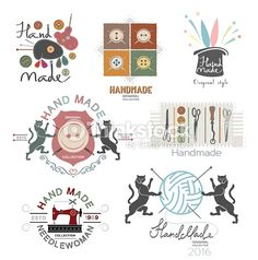 Set of vector vintage hand made logo, labels and design elements. Badge Design, Label Design, Logo Design, Sewing Studio, Quilt Patterns Free, Free Vector Art, Design Elements, Retro, Logos