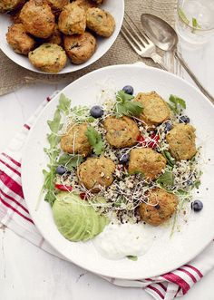 Zucchini and red lentils balls salad