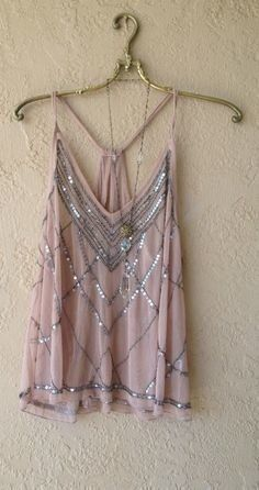 Image of ART DECO GATSBY Boho Gypsy Violet beaded romantic sheer mesh cross over back camisole