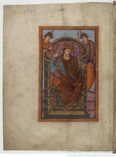 Lothaire Ier trônant - Évangiles de Lothaire, abbaye Saint-Martin de Tours, v. 849-851 - Paris, BnF, lat. 226, fol. 1