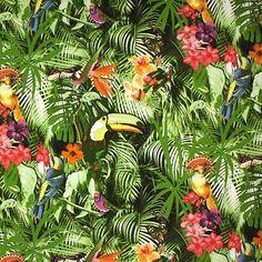 Materiał Dżungla  Kolor: Zielony , różowy,pomarańczowy  Materiał: 85 % bawełna, 15% poliester  Szerokość: 280 cm  Zastosowanie : poduszki, zasłony, obrusy, tapicerka (najlepiej tylne części…