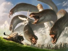 Hidra luchando contra el ángel, de Jason Chan