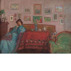Jozsef Rippl-Ronaï 1861-1927 , Woman in Blue at a Table with Red Tablecloth, Green Armchair, Art Auction, A Table, Modern Art, Woman, Artist, Blue, Painting