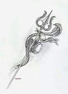 The Trident More - Tattoo Fonts Trident Tattoo, Snake Tattoo, Dream Tattoos, New Tattoos, Tatoos, Tattoo Designs For Women, Tattoos For Women, Trishul Tattoo Designs, Shiva Tattoo Design