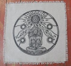 Spirit Goddess Crystal Grid Altar Cloth 16 x 16 by The7Directions