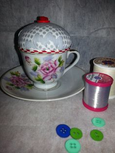 Pincushion in a vintage china cup https://www.etsy.com/listing/167927262/pincushion-in-a-vintage-cup-and-saucer