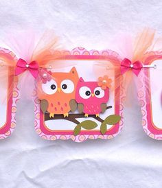 Owl baby shower banner its a girl pink and por NancysBannerBoutique