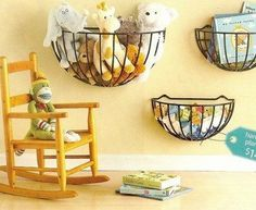 Cute storage for puppets, dolls, stuffed animals.