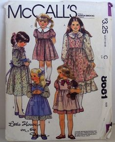 Vintage Mccalls Pattern 8681 Childrens Girls Little House On the ...
