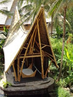 A design team building with bamboo in Bali, lead by Elora Hardy Bamboo House Bali, Bamboo Roof, Bamboo House Design, Bamboo Building, Hut House, Bamboo Structure, Bamboo Construction, Bamboo Architecture, Eco Friendly House