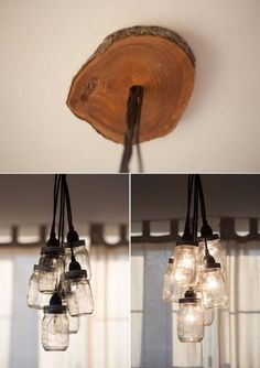 """DIY Mason Jar Chandelier that """"sprouts"""" from a slab of wood Diy Mason Jar Lights, Mason Jar Light Fixture, Mason Jar Chandelier, Diy Chandelier, Mason Jar Lighting, Mason Jar Diy, Light Fixtures, Iron Chandeliers, Mason Jar Projects"""