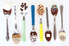 assorted chocolate spoons