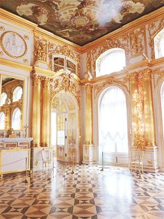 Catherine Palace, Tsarskoe Selo, Saint Petersburg, Russia.  This room was being renovated when we visited in 1995.  Gorgeous results!!