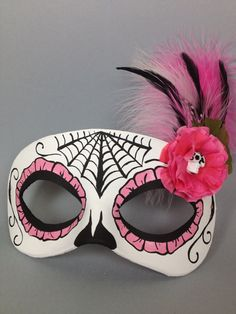 Day of the Dead Pink Flower Leather Masquerade Mask by maskedzone, $45.00
