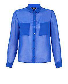 Teens Dark Blue Chiffon Long Sleeve Shirt  | New Look