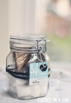 Gift basket idea for people w/ kids...  S'mores in a Jar-50 Days of DIY Christmas at The Paper Mama