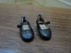 Sylvia Rountree, The Dolls Cobbler, IGMA fellow - black leather child's mary janes; sold on ebay for $8.50