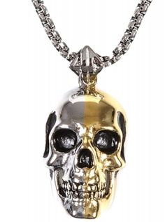 """2 Tone Skull"" Pendant by Han Cholo (Silver/Gold) #InkedShop #InkedMag #2Tone #Pendant #Silver #Gold"