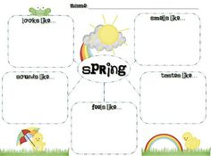 Springtime observation sheet using the five senses.