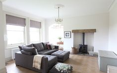 parquet, grey L sofa, woodburner, blankets