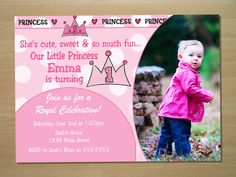 Lil Princess 1st Birthday Invitation - Digital File (Printing Available)