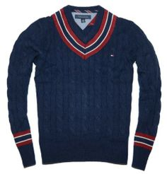 Tommy Hilfiger Men Cable Knit V-neck Sweater Pullover (L, Navy/burgundy/off white)