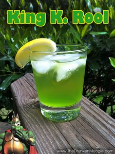 King K. Rool (Donkey Kong Country cocktail) Ingredients:1 oz. Crown Royal Whiskey1.5 oz. Melon Liqueur1 oz. Sweet and sour mixSpriteLemon wedge Directions: Mix the whiskey, melon liqueur, and sweet and sour mix in a lowball glass, over ice. Top off with Sprite and a lemon wedge as a garnish.