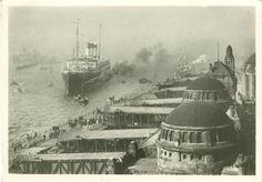 alte Ansichtskarte - Hamburg - Hamburg-Süd-Schnelldampfer vor der St. Pauli-Landungsbrücke (1941 gelaufen)