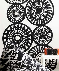 Cool wall decal and cushion - Marimekko designed by Sanna Annukka 2009 Spring collection