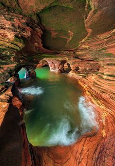Inside a sandstone cave on Lake Superior, Apostle Islands National Lakeshore, USA.