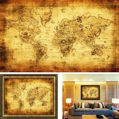 Antique Style World Map Vintage Style Retro Cloth Poster Free Shipping. #Vintage