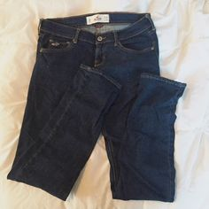 Dark Wash Skinny Jeans Good condition / dark wash / selling because they're too small / no trades, thanks! / bundle for discount:) Hollister Jeans Skinny