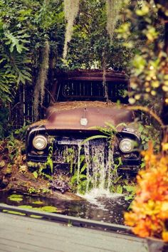Waterfall from an old car body.