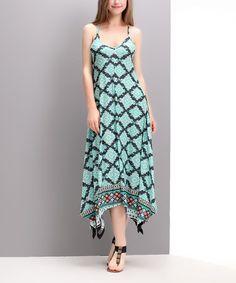 Love this Aqua Damask Handkerchief Maxi Dress by Reborn Collection on #zulily! #zulilyfinds