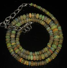 "47 Crts 1 Necklace 3to6mm 16"" Beads Natural Ethiopian Welo Fire  Opal  61681"