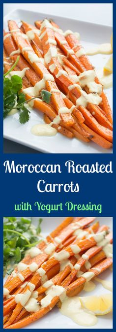 Transport your taste buds to Africa with this Moroccan-spiced roasted carrots side dish drizzled with a creamy yogurt dressing. From @thelemonbowl