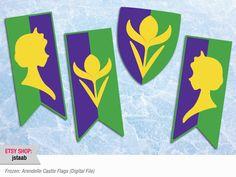Frozen Party 11x17 Arendelle Castle Flags Digital File por jstaab, $10,00