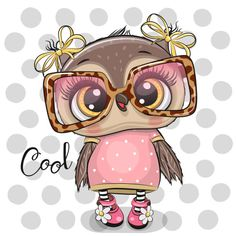 Cartoon Owl in pink glasses. Cute Cartoon Owl in pink glasses on a dots background vector illustration Cute Bunny Cartoon, Cartoon Whale, Kitten Cartoon, Cartoon Elephant, Cute Cartoon Animals, Baby Cartoon, Rainbow Cartoon, Rainbow Wallpaper, Owl Wallpaper