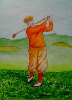 Bobby Jones, 1930. 10x14, watercolor, oct 28, 2015. by Tom Dudones