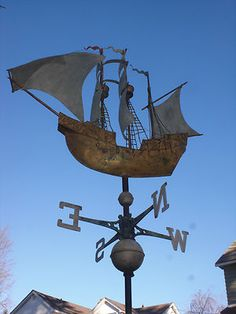 Giant Tall SHIP Weathervane Detailed Gold Copper Metal Folk Art Very Heavy | eBay